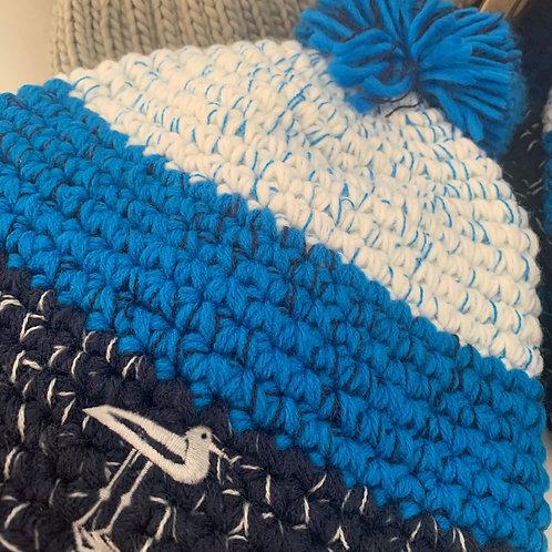 Blue Knit Pom Pom Beanie