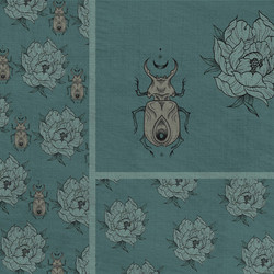 beetle and peony pattern