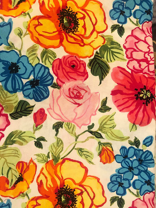 Pink & Blue Flowers Fabric