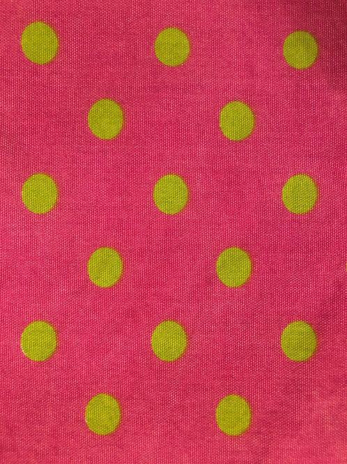 Pink with Green Poka Fabric