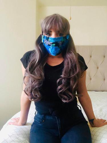 Blue Flowered Mask