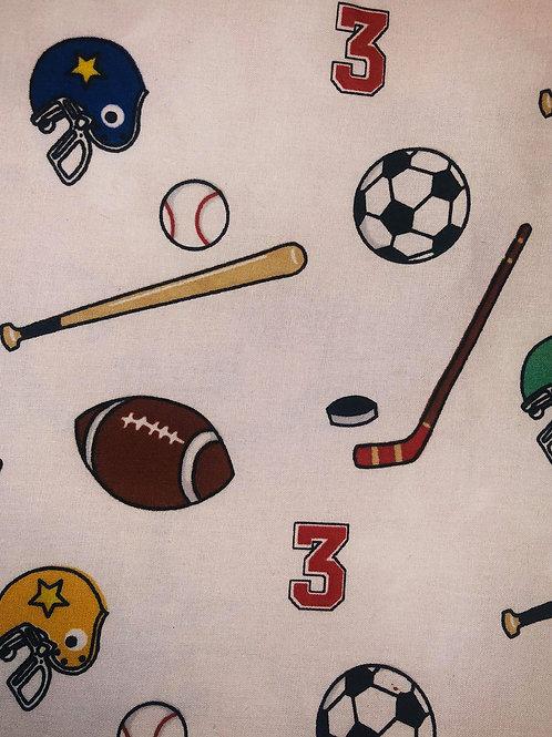 Sports Balls White Fabric