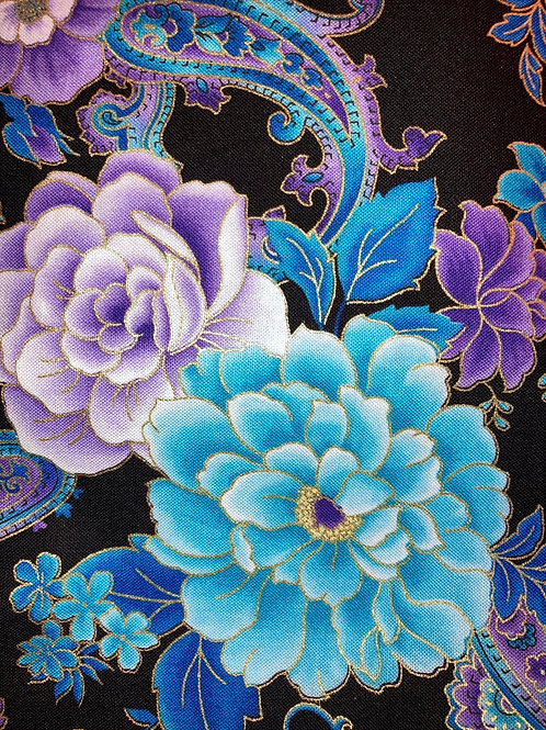 New Version of Blue & Gold Rose Fabric