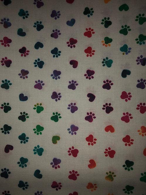 Dog Prints White w/Purple