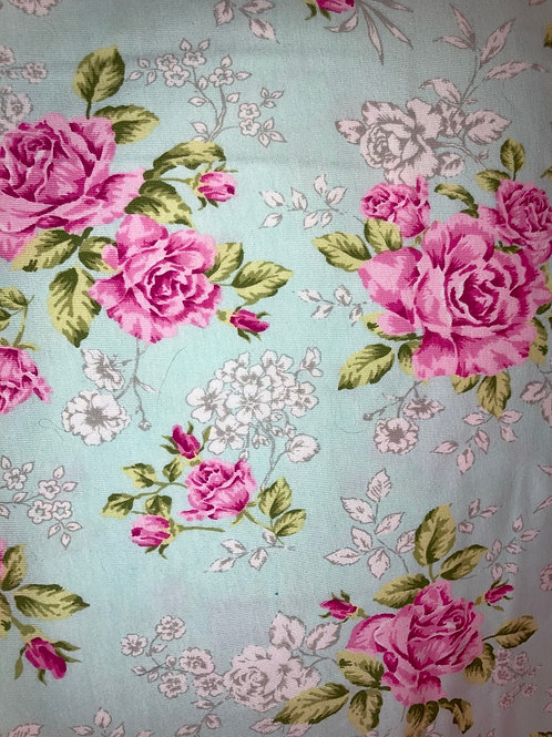 New - Pink Green Jersey Knit Flowers