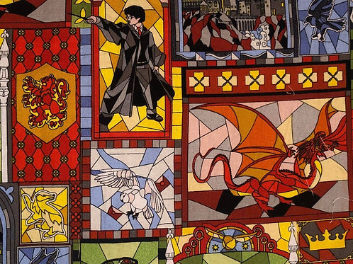Harry Potter Stained Glass Fabric - 4 available