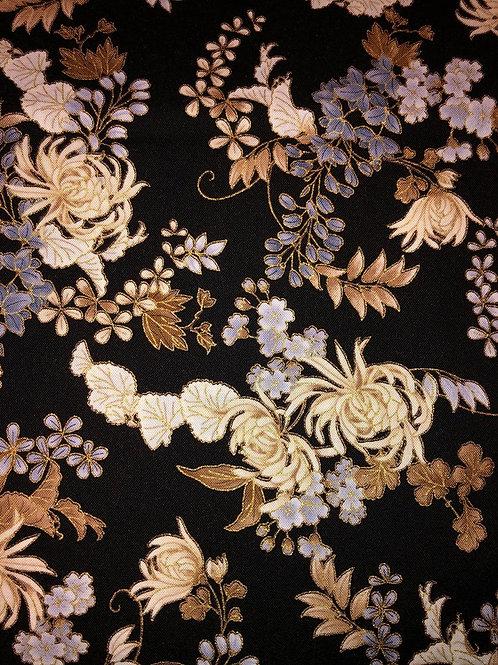 Gold Threaded Flowers Black
