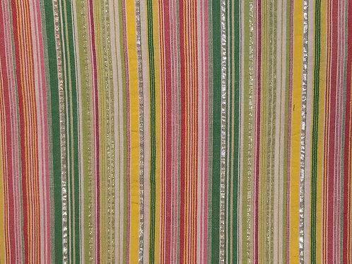 Green, Pink & Silver Thread Fabric