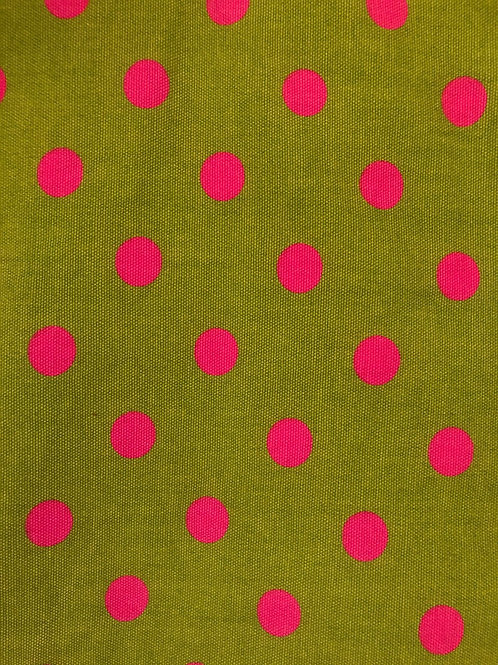 Green with Pink Poka Fabric