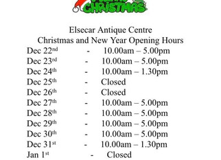 Christmas and New Year opening hours.
