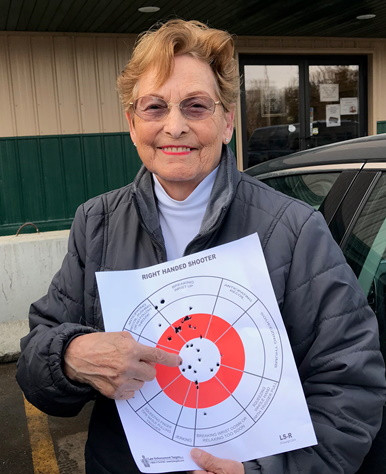 #1 Senior Client, 89 yrs young. My mom, Marlene Larson. She was an avid pheasant hunter with my dad for many years. In fact I have her 20 gauge shotgun she ordered from Sears & Roebuck back in the 1950's. She was new to shooting handguns on this day. Once she became comfortable with my S&W 22 semi auto, she was hitting center mass like a pro. Your never too old to learn to shoot.