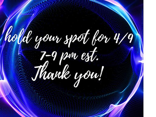 Join us 4/9 Live Cold Readings 7-9pm EST