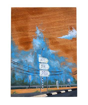 צומת עדה  ציור נוף ישראלי על עץ