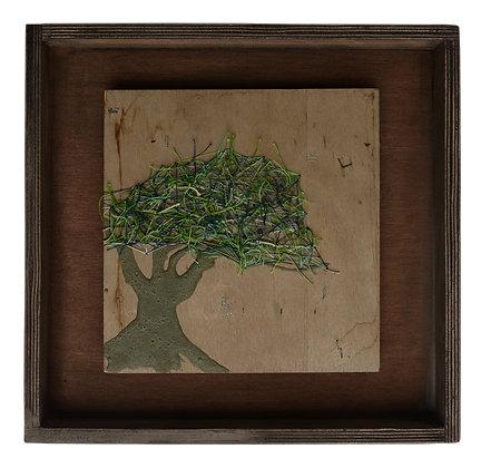 עץ זית - קולאז' של בטון עץ ורקמה