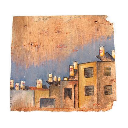ציור נוף ישראלי של דודי שמש על בנייני שיכון