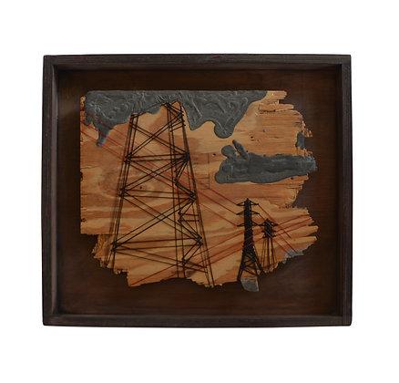 עמוד חשמל - עבודת טקסטיל על עץ ובטון