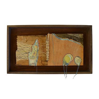 קולאז' של שדה צברים עשוי מנייר חוטים ובטון על עץ