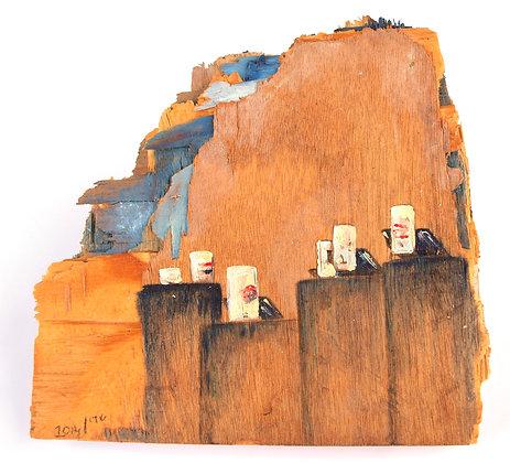 ציור נוף ישראלי על עץ