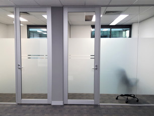 3. Clear anodised single leaf aluminium framed hinged door