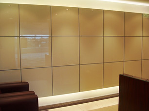 1. Two pack glass feature panel square with concealed lighting adds a sophisticated touch. Ceramic tiles provides a pathway along the corridors & a set ceiling finishes off the look.