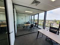 black aluminium full height glass partition wall