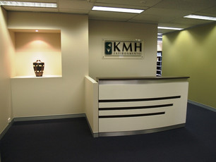 3. Client - KMH Environmental: melamine counter with striped detail.