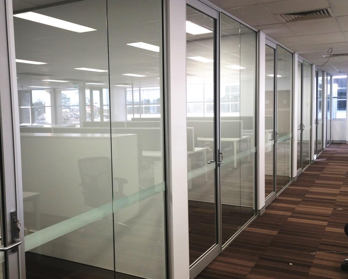Aluminium framed partitions & aluminium framed hinged doors