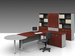 c-desk with metal leg and bulb end