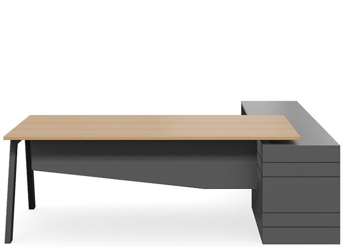 vista executive desk with storage in bla