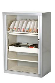 tambour unit with open doors