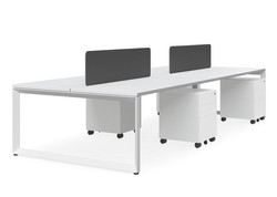forum 4 person workstation with white fr