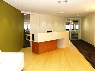 2. Client - KMH Environmental (2nd location): 2 pack counter with veneer box section with storage below