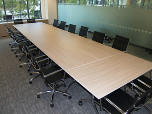 3.. Client - Toyota Finance: polytec melamine on 8 x Flip top mobile training tables organised as one larger table.