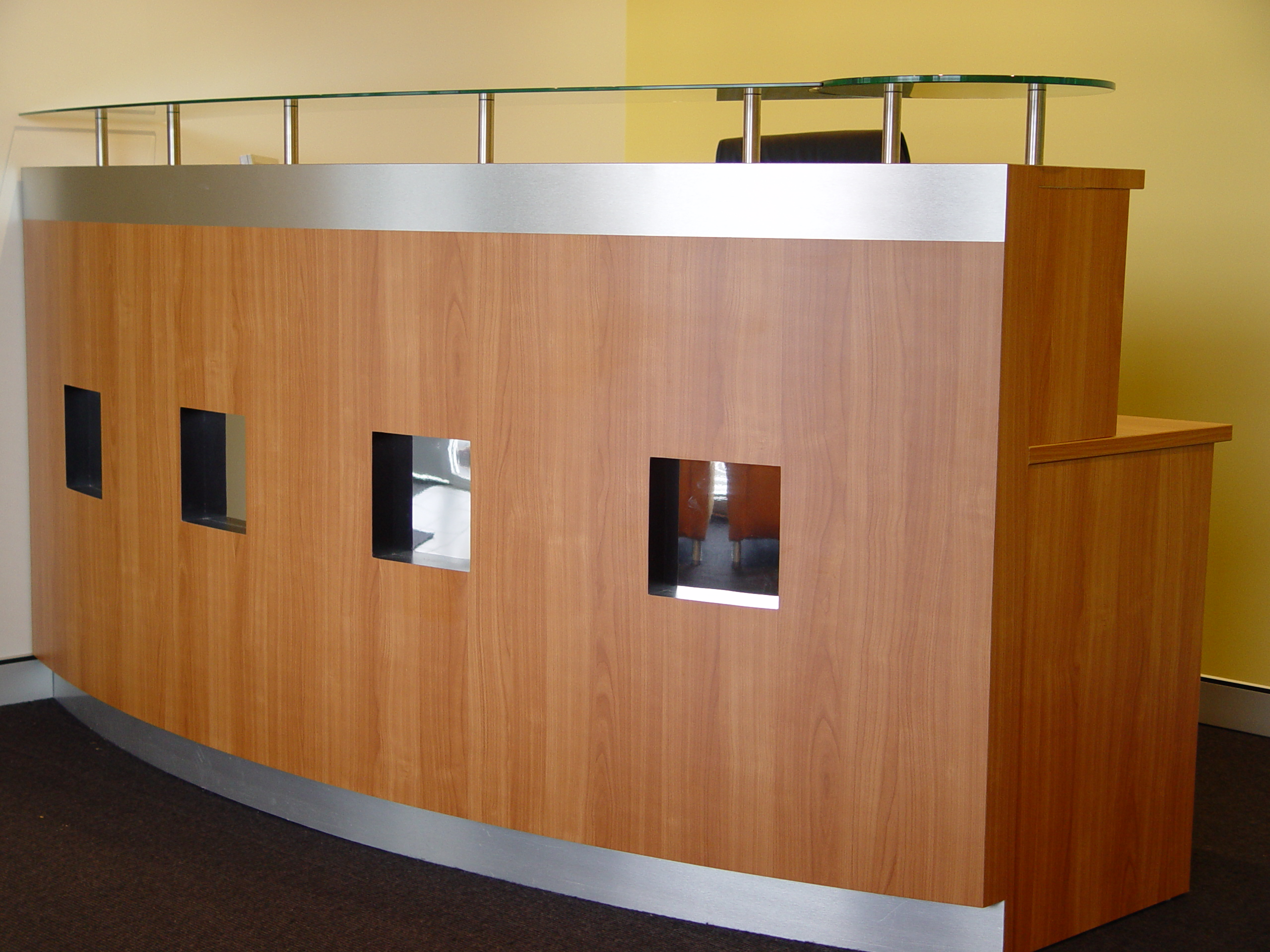 melamine counter with mirror insets