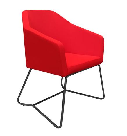 oprah tub seating in red with black fram