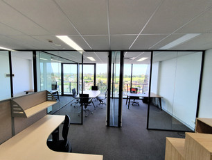 15. Black aluminium framed glass partition walls