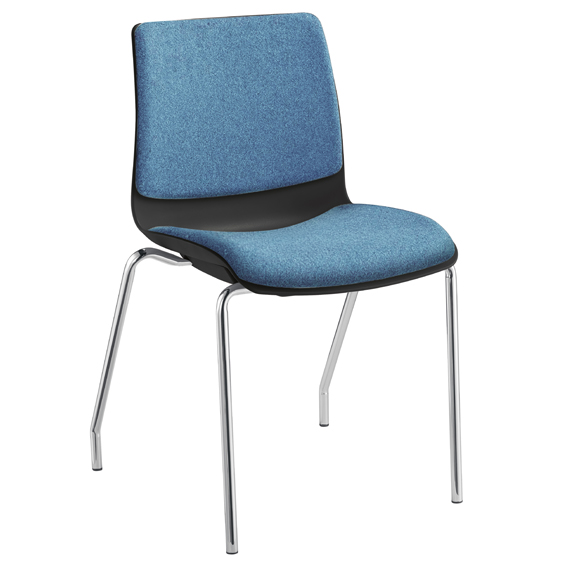 pod chair with 4 chrome legs and upholst