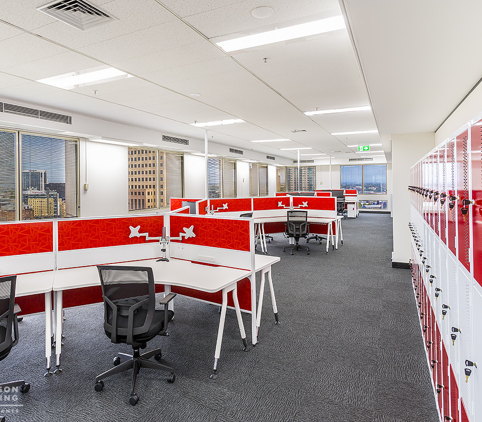 CBD Sydney:  This was an enjoyable fitout to do.  The brief was to create 7 meeting rooms, storage areas, IT room, a large tea room and kitchen.  Also create divided workstation areas for standard and after hours operations.  The atmosphere was to be light, airy and fun.