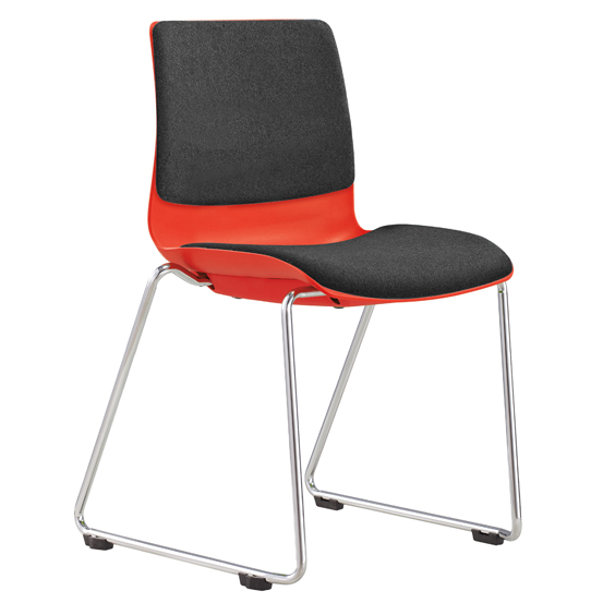 POD visitor chair with chrome sled base,