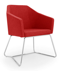 oprah tub seating in red with chrome fra