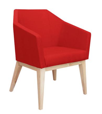 oprah tub seating in red with timber leg