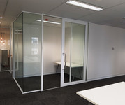 white aluminium full height glass partition wall with glass sliding door
