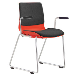 POD chair with chrome sled base, upholst