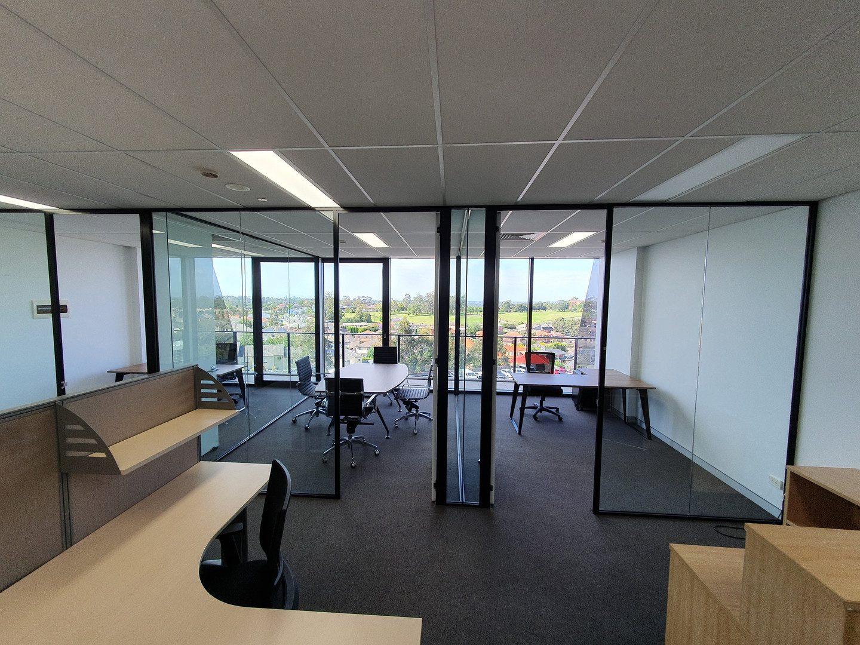 black aluminium full height glass partition walls