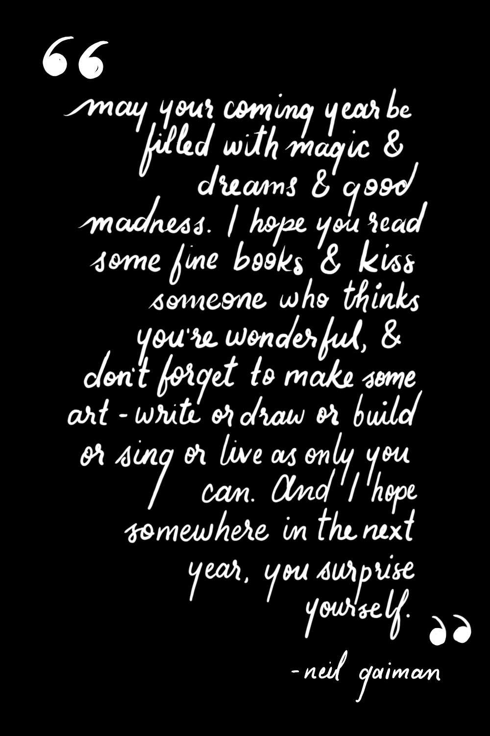 hand lettered quote from Neil Gaiman