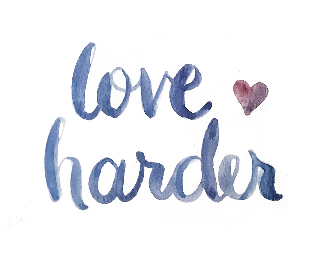 watercolor painted letters, Love Harde