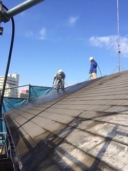 屋根洗浄作業