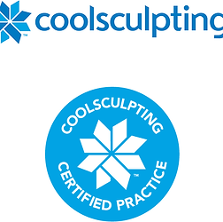 Number 1 coolsculpting near me. Blue coolsculpting certified practice long island logo.