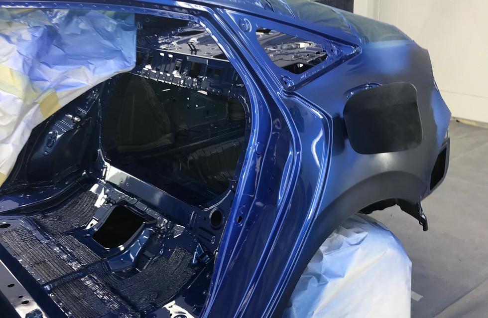 Left side quarter panel in proccess of refinishing