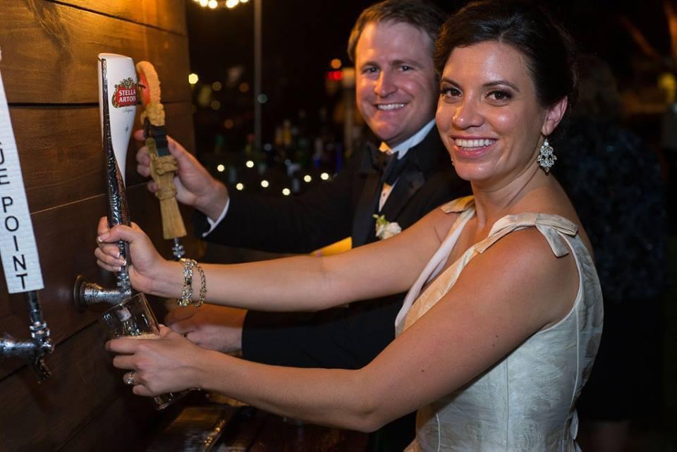 Rustic Beer Bar with Tap Handles! Beautiful for Weddings!